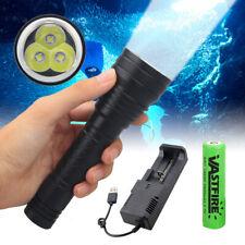 3x XM-L2 LED Dive Scuba Flashlight Underwater Diving Torch Camping Hiking Light