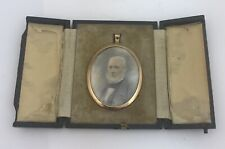 Antique Edwardian Miniature Portrait In Original Leather Easel Frame