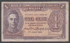 Malaya - King George VI, 1 Cent, 1941, VF++, P-6
