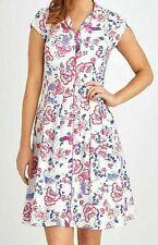 Joe Browns Pink Blue Floral Cotton Shirt Dress Size 12 Smart Casual Summer 50s