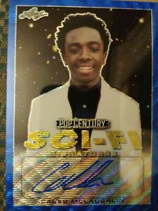 Caleb McLaughlin Stranger Things Autograph Card 10/10 Blue Wave Pop Century Leaf