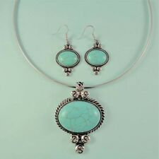 Southwest Vintage Look Turquoise Medallion NEW Statement Necklace Set Silver USA