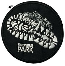 Explore - Find Your Park Patch Embroidered Iron / Sew-on Hiking Applique