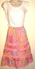 Banana Republic Pink Linen & Cotton Blend Flower Skirt w Drawstring Waist Size 4