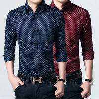 Mens Long Sleeves Shirts Polka Dot Formal Slim Multicolor Dress Business Work