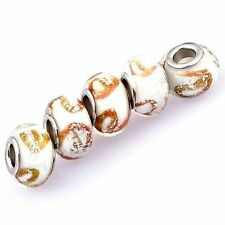 """5pcs White Lampwork Brown """"e"""" Murano Glass Bead European Fit Charm Bracelets"""