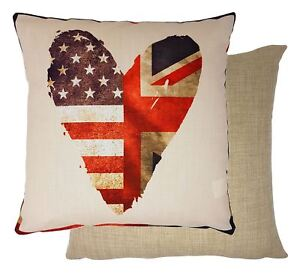 FILLED HEART UNION JACK STARS & STRIPES USA FLAG WOVEN CUSHION