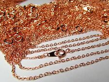 Rose Gold Plate Flat Cable Link 18 in Fine Gauge Chain Lot Wholesale 50 Pc Bulk