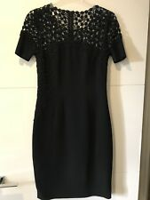 Elie Tahari Black Dress with Lace Effect on Sleeves - UK 6