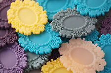 6 Resin MIXED COLORS Picture Frame Setting Pendant holds cameo 24x18mm cab0242