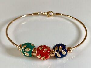 "9ct/9k ""Gold Filled"" Baby, Child, Toddler Coloured Beaded Bangle/ Bracelet Gift"