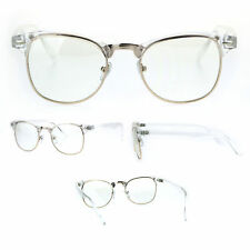 Gold Clear Frame Classic Half Rim Hipster Eye Glasses