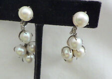 TYL  SIGNED NATURAL WHITE PEARL  EARRINGS  SCREWBACK  50'S DESIGN