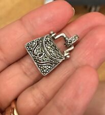 925 Sterling Silver Marcasite Purse Locket Pendant Necklace