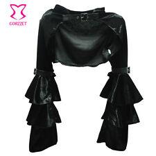 Victorian Ruffle Black Satin Long Flare Sleeve Gothic Jacket Bolero Short Coat