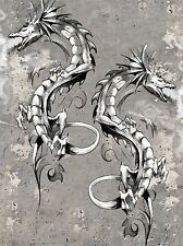 ART PRINT PAINTING DRAWING DRAGON FANTASY MONSTER TATTOO DESIGN LFMP1020
