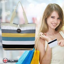 Casual Lady Colored stripes Shopping Handbag Shoulder Canvas Bag Tote Purse Gift