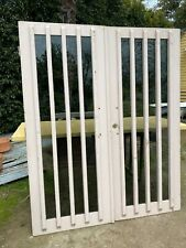 Pair solid timber FRENCH DOUBLE ENTRY DOORS tinted heavy glass VERTICAL 4 Panel