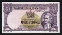 NEW ZEALAND P-159d. 1 Pound (1956-67) - Fleming.  with Thread. Prefix 283.. aUNC