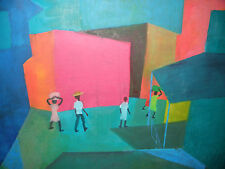 Listed artist Antonio Joseph (b 1921 Haitian cubist modernist oil painting Haiti