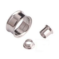 Black Flesh Tunnel Ear Plug Double Flared Steel Metal Stretcher 3mm - 40mm