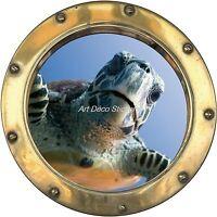Sticker trompe l'oeil déco Tortue réf:hublot  H337
