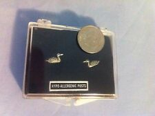 1 Pair of Pewter Stud Duck Earrings - Small - With Case