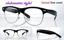 80s Vintage LARGE Frame Black Clubmaster Clear Lens Hipster Glasses Nerd Retro