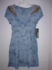 Petrol Womens Small Blue Cap Sleeve V-Neck Sequined Wing Lady Dancer Dress NEW
