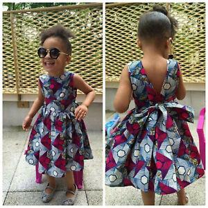 Toddler Baby Kids Girls African Dashiki 3D Digital Print Princess Long Dress