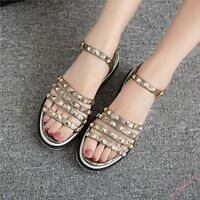 Ladies Synthetic Leather Spike Slingback Buckle Strap Casual Sandal Shoes Comfy