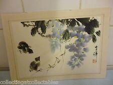 Signé vintage peinture chinoise de poussins en folage