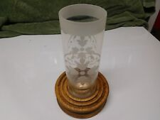 New listing Etched Glass Chimney Candle with Oak Base - Hand Crafted