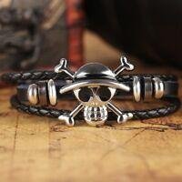 Black Punk Pirate Skull Bracelet Men Boy Accessories Costume Jewellery Gift