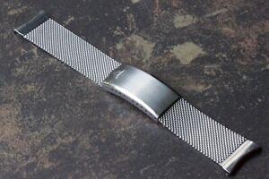 JB Champion USA 19mm curved end steel mesh vintage watch bracelet NOS 1950s/60s