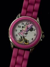 MINNIE MOUSE PLASTIC PINK WATCH SILICONE BAND New Battery