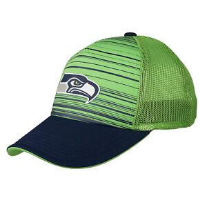 Seattle Seahawks Youth Kids Striped Mesh Green Blue Flex Fitted Hat Cap