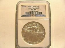 2010 (P) ER MS70 Silver American Eagle NGC (25 Years of Silver Eagles Slab)