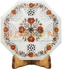 "16"" Marble Coffee Table Top Grill Art Carnelian Floral Inlay Bedroom Decors W505"