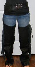 Genuine Biker's Leather Stuff - Black Tie Zip & Button Chaps Size XS **READ**