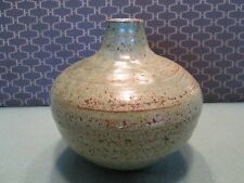 Pottery Vase Green/Brown Design Home Decor Collectible Flowers Stone Clay RARE