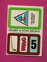 1979-80 TOPPS COLORADO ROCKIES HELMET AND STICK DECALS INSERT NRMT+ (INV# 8250)