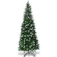 Pencil Christmas Tree Artificial Xmas Pine Cones Tree With Stand 6 Ft Slim Snow
