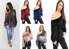 New Ladies Velvet Off Shoulder  Baggy Loose Crop Top Tie Up Top 8-26