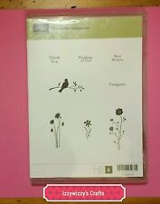 Stampin Up SILHOUETTE SENTIMENTS bird on branch floral cling (1601)