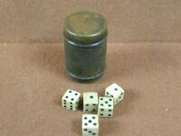 Civil War Era Soldiers Game of Chance Brass Barrel with 5 Cow Bone Dice