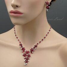 White Gold Plated Red Cubic Zirconia Necklace Earrings Wedding Jewelry Set 8366