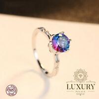 Rainbow Fire Mystic Topaz Genuine 925 Sterling Silver Engagement Ring for Women