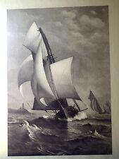 """""""A WINNING YACHT"""" MINT ORIGINAL ANTIQUE PRINT FROM 1800s~J.O.DAVIDSON /WELLSTOOD"""