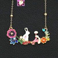 Betsey Johnson Enamel Crystal Flower Rabbit Bunny Pendant Chain Necklace Gift